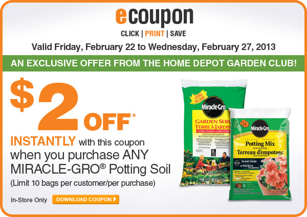ecoupon: $2 Off Any Miracle-Gro Potting Soil - DOWNLOAD COUPON