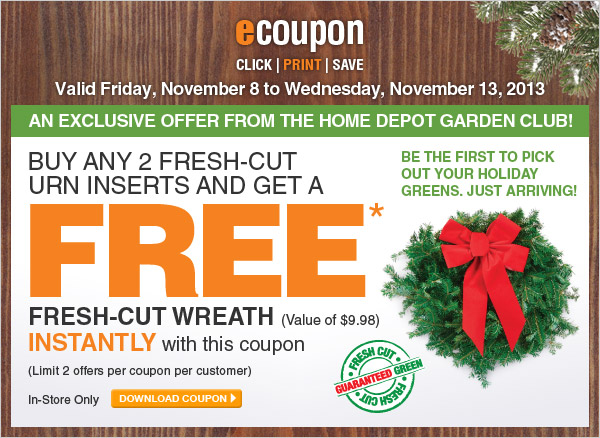 ecoupon: Buy 2 Urns and Get a Free Fresh-Cut Wreath - DOWNLOAD COUPON