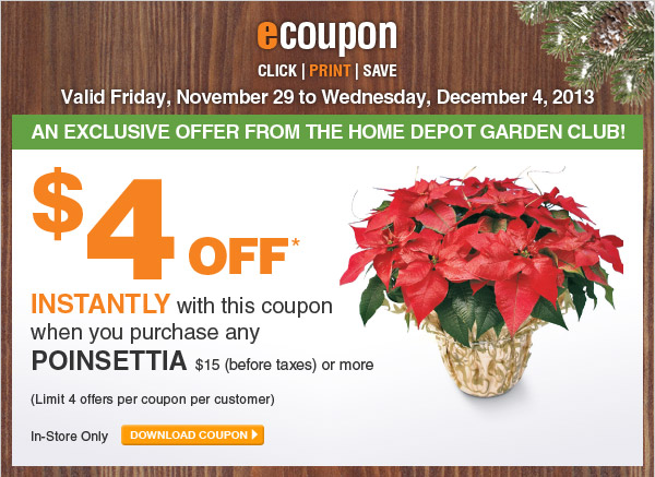 ecoupon: $4 Off On Any Poinsettia $15 Or More - DOWNLOAD COUPON