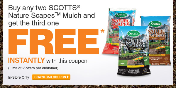 Buy Any 2 Scotts Nature Scapes Mulch & Get The 3rd Free - DOWNLOAD COUPON