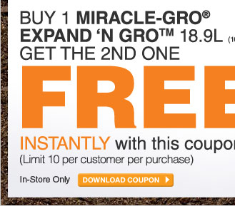 Buy 1 Miracle-Gro Expand 'N Gro And Get The 2nd Free - DOWNLOAD COUPON