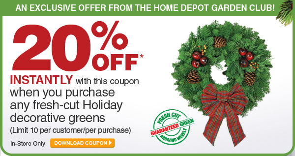20% Off Fresh-Cut Holiday Greens - DOWNLOAD COUPON
