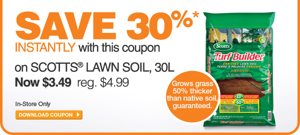 ecoupon - Save 30% on Scotts Lawn Soil, 30L - DOWNLOAD COUPON