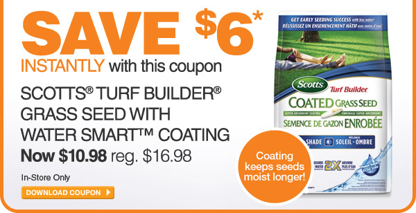 Save $6 on Scotts Turf Builder Grass Seed - DOWNLOAD COUPON