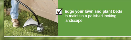 Edge your lawn and plant beds to maintain a polished looking landscape.