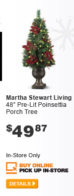 Martha Stewart Living Pre-Lit Poinsettia Porch Tree - DETAILS