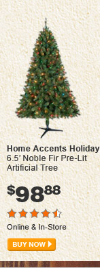 Home Accents Holiday 6.5' Noble Fir Pre-Lit Artificial Tree - BUY NOW
