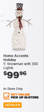Home Accents Holiday Snowman with 300 Lights - DETAILS