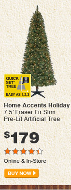 Home Accents Holiday 7.5' Fraser Slim Pre-Lit Artificial Tree - BUY NOW