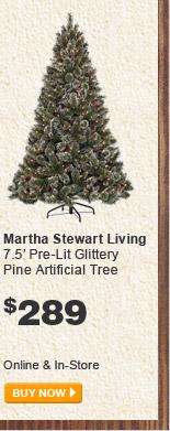 Martha Stewart Living 7.5' Pre-Lit Glittery Pine Artificial Tree - BUY NOW