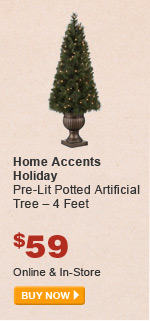 Home Accents Holiday Pre-Lit Potted Artificial Tree – 4 Feet - BUY NOW