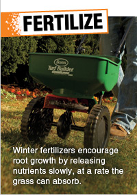FERTILIZE - Winter fertilizers encourage root growth by releasing nutrients slowly, at a rate the grass can absorb.