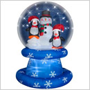 Home Accents Holiday Penguins and Snowman Airblown Snow Globe