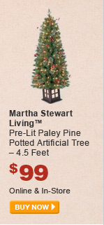 Martha Stewart Living Pre-Lit Paley Pine Potted Artificial Tree - BUY NOW
