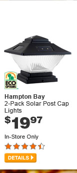 Hampton Bay 2-Pack Solar Post Cap Lights - DETAILS