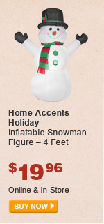 Home Accents Holiday Inflatable Snowman Figure – 4 Feet - BUY NOW