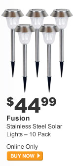 Fusion Stainless Steel Solar Lights - 10 Pack - BUY NOW