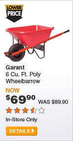 Garant 6 Cu. Ft. Poly Wheelbarrow - DETAILS