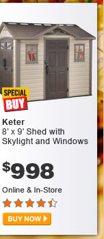 Keter 8' x 9' Shed with Skylight and Windows - BUY NOW